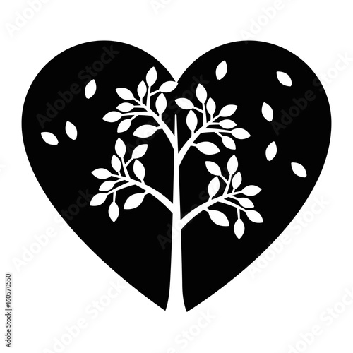 Heart with leaves icon vector illustration graphic design