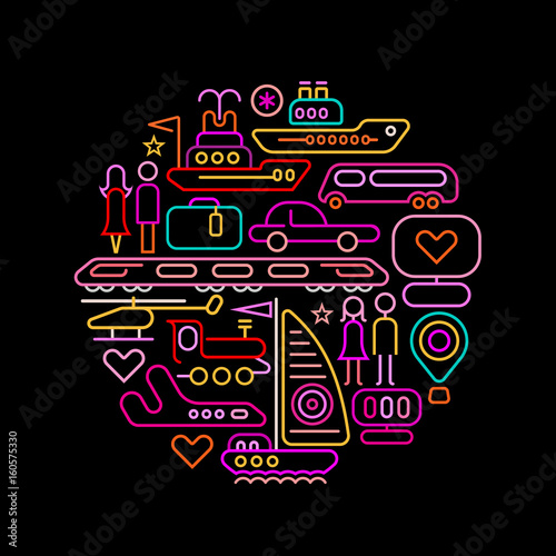 Travel round shape neon colors illustration