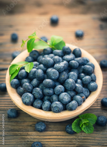 Fresh blueberries in the bowl