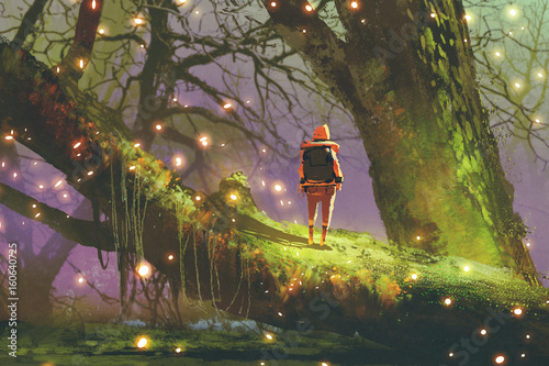 Foto op Canvas Lavendel hiker with backpack standing on giant tree with fireflies in enchanted forest, digital art style, illustration painting