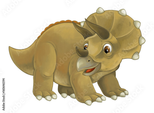 cartoon happy and funny dinosaur dinosaur - triceratops - 160646394