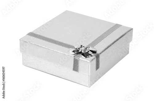 Plakát Silver decorative present box isolated on white background