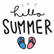 Hello summer word and sandal vector illustration