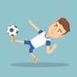 Soccer player kicking a ball vector illustration.