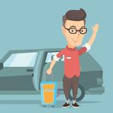 Caucasian man traveling by car vector illustration