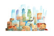 Watercolor painting of big modern city  New York hand drawn on white background