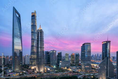 Beautiful shanghai city skyline in sunset Poster