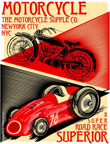 vintage wyścigowy samochód do printing.vector old school race poster.retro zestaw wyścigowy