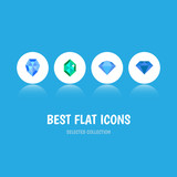 Flat Icon Diamond Set Of Gem, Carat, Treasure And Other Vector Objects. Also Includes Brilliant, Jewel, Treasure Elements.