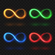 Abstract glittering infinity or eternal magic light loop vector symbols. Colorful brightness icons