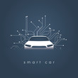 Smart or intelligent car vector concept. Futuristic automotive technology with autonomous driving, driverless cars.