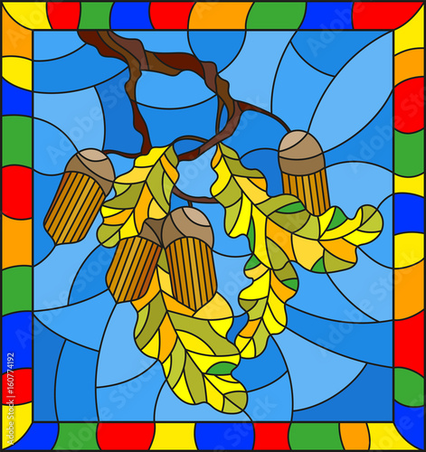 illustration-in-stained-glass-style-with-oak-branch-with-acorns-and-leaves-leaf-on-blue-background-in-a-bright-frame