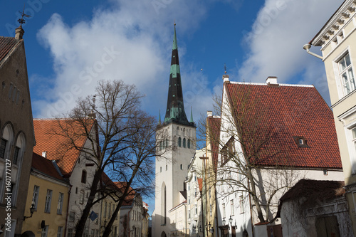 Church of St. Olaf and old houses in the historical center of Tallinn, Estonia