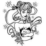 cute vector art card with a fox girl and her pet bunny, flowers roses and stars. Fashion woman. linear tattoo print illustration. - 160790990