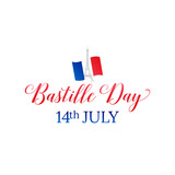 Bastille Day. 14 July. French flag and typography.