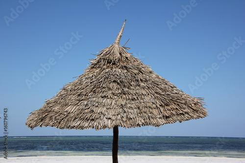 Thatched Parasol / Traditional thatched parasols are useful places for resting in the shadow on Zanzibar Island, Africa