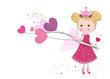 Cute fairy girl holding heart balloon. Happy valentine's day