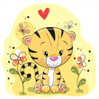Tiger with flowers and butterflies