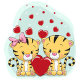 Two Cute Tigers with hearts