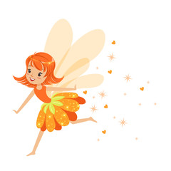 Beautiful smiling orange Fairy girl flying colorful cartoon character vector Illustration
