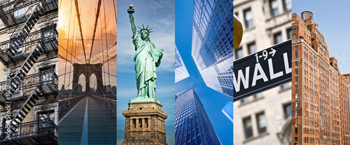 New York, panoramic photo collage, New York landmarks travel and tourism concept - 160813944