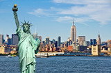 Fototapety New York skyline and the Statue of Liberty, New York City collage, travel and tourism postcard concept, USA