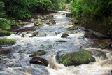 Mountain stream with stones with clear water