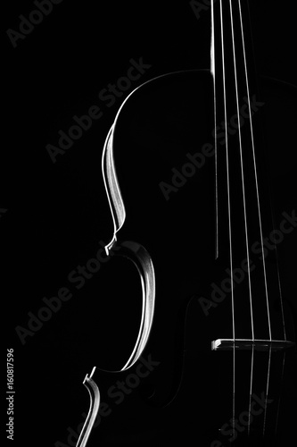 Violin classical music instrument close-up. Stringed musical instrument violin isolated on black background with copy space. Classical orchestra instruments fiddle close up - 160817596