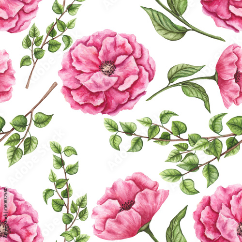 Fototapeta Seamless Pattern of Watercolor Pink Flowers, Green Leaves and Tree Branches