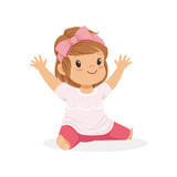 Cute little girl sitting dressed in casual clothes colorful cartoon character vector Illustration