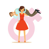 Woman in a red dress holding man on her shoulders, feminism colorful characters vector Illustration