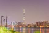 city skyline night seoul, korea