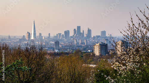 Fotobehang London View over London's city centre from One Tree Hill in South-East London