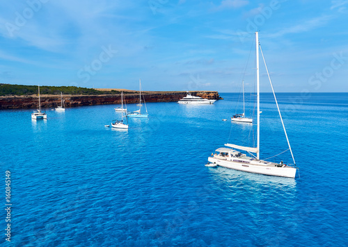 Sailboats at Cala Saona bay in Formentera. Spain