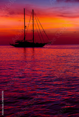 Foto op Canvas Bordeaux Sunset in Formentera. Balearic Islands. Spain