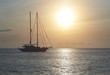 Vessels at Cala Saona in Formentera at sunset. Spain