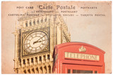 Big Ben and a red english phone booth in London, UK, collage on sepia vintage postcard background, word