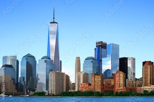 New York view of the Manhattan on the blue sky Poster