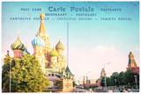 St Basil cathedral in Moscow, Russia, collage on vintage postcard background, word