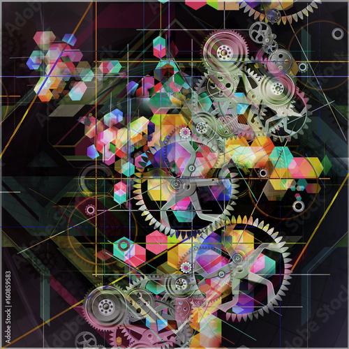 Aluminium Reznik Абстрактный красочный механизм на сером фоне