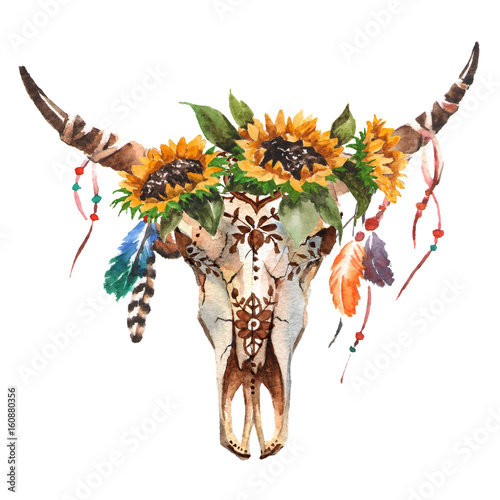 Watercolor isolated bull's head with flowers and feathers on white background. Boho style. Skull for wrapping, wallpaper, t-shir - 160880356
