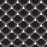 Seamless pattern of fish scales. White universal fish and mermaid scales on black background. Beautiful background for your design