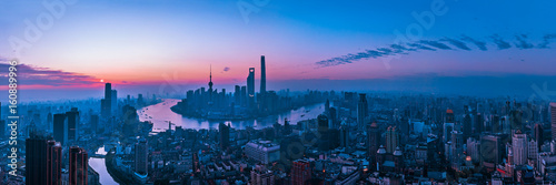 Foto op Canvas Shanghai Panorama of sunset with Shanghai city view