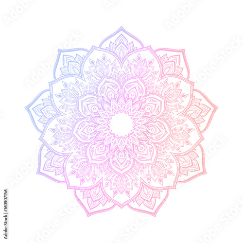 Hand drawn abstract mandala design. Vector oriental round pattern. Coloring book element. - 160907156