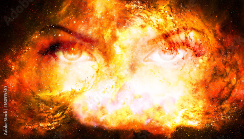 Woman eyes in cosmic background. Eye contact. Fire effect.