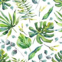 Watercolor Seamless Pattern with Tropical Leaves