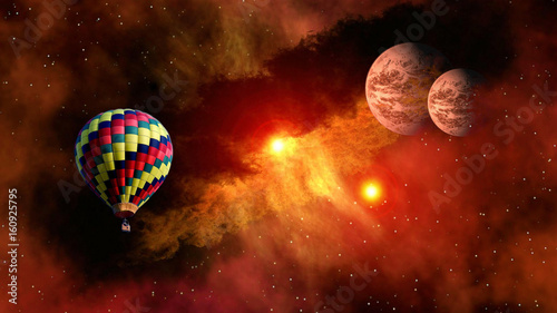 Hot air balloon outer space star planet fairy tale stunning surreal fantasy landscape. Elements of this image furnished by NASA.
