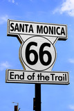 Route 66 sign on Santa Monica Pier, CA, USA