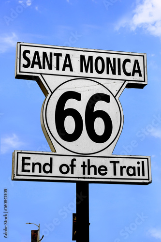 Spoed canvasdoek 2cm dik Route 66 Route 66 sign on Santa Monica Pier, CA, USA