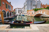 Venice / View of the river and historical architecture.